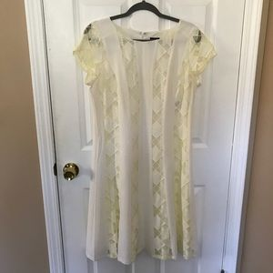 White dress with yellow (on purpose) lace